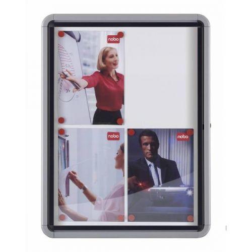 Nobo Noticeboard for Exterior Glazed Case Lockable Magnetic Steel 9xA4 W792xD85xH1040mm Ref 1902580