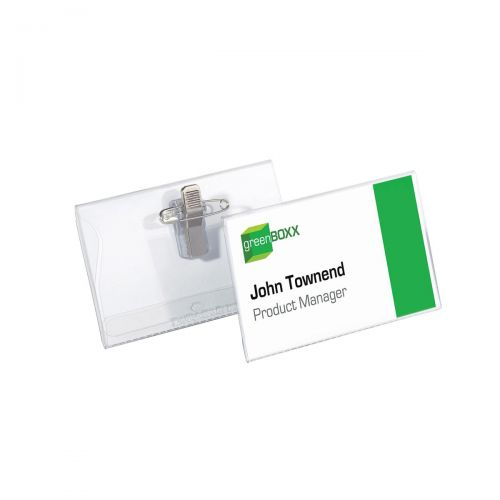 Durable Name Badges Combi Clip for Pin or Clip to Clothing 40x75mm Ref 8141-19 [Pack 50]
