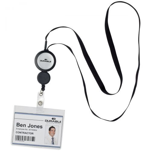 Durable Badge Reel Plus Textile Necklace Retractable for Punched Hole Badges Black Ref 8229/01 [Pack 10]