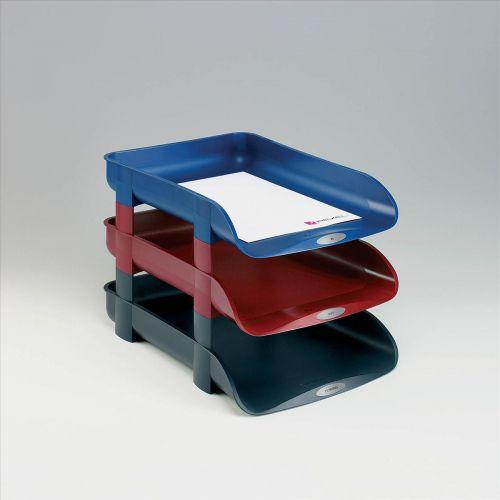 Rexel Agenda2 Letter Tray 55mm Depth W286xD401xH60mm Charcoal Ref 2101016