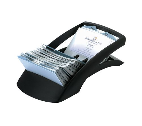 Durable Visifix Desk Business Card File Indexed Capacity 200 Black Ref 2413/01