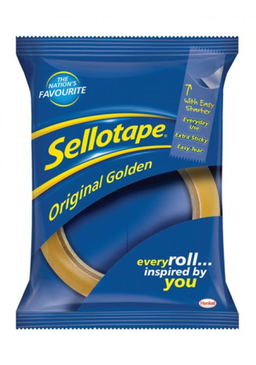 Sellotape Original Golden Tape Roll Non-static Easy-tear Large 24mmx66m Ref 1443268 [Pack 12]