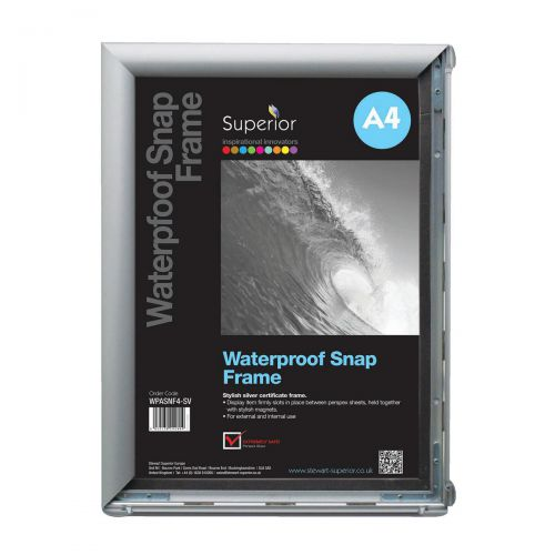 Waterproof Snapframe PVC Anti-glare Cover Includes Screw Kit Rubber Seal A4 W350xD260xH21mm Silver