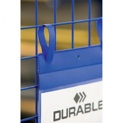 Durable Logistic Pocket Polypropylene with Arrow-Shaped Straps A4 Portrait Blue Ref 175007 [Pack 50]