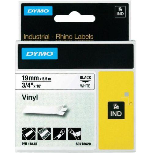 Dymo RhinoPRO Industrial Tape 1500WT Coloured Vinyl 19mm White Ref 18445 S0718620