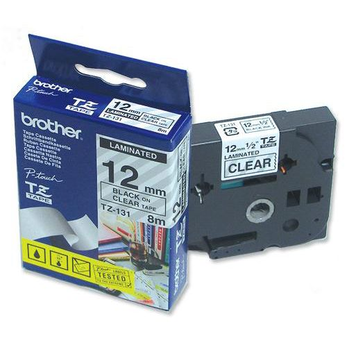 Brother P-touch TZE Label Tape 12mmx8m Black on Clear Ref TZE131