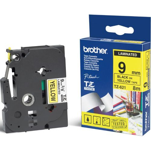 Brother P-touch TZE Label Tape 9mmx8m Black on Yellow Ref TZE621