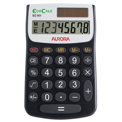 Aurora EcoCalc Calculator Handheld Recycled Solar Power 8 Digit 4 Key Memory Ref EC101