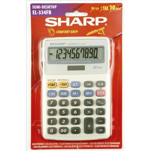 Sharp Calculator Tax Desktop Battery/Solar-power 10 Digit 108x170x15mm Ref EL334FB