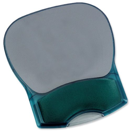 Mouse Mat Pad with Wrist Rest Gel Translucent Blue