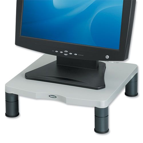 Fellowes Standard Monitor Riser 17in CRT 21in TFT Capacity 27kg 3 Heights 51-102mm Grey Ref 91712