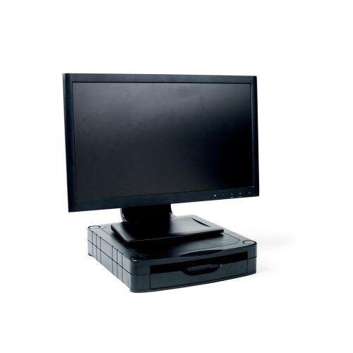 Monitor Screen Riser 67mm Stackable 1 Drawer 15kg Load Black