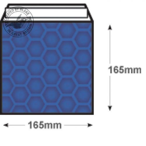 Purely Packaging Envelope P&S 165x165mm Padded Met Blue Ref MBBLU165 [Pack 100] *3 to 5 Day Leadtime*