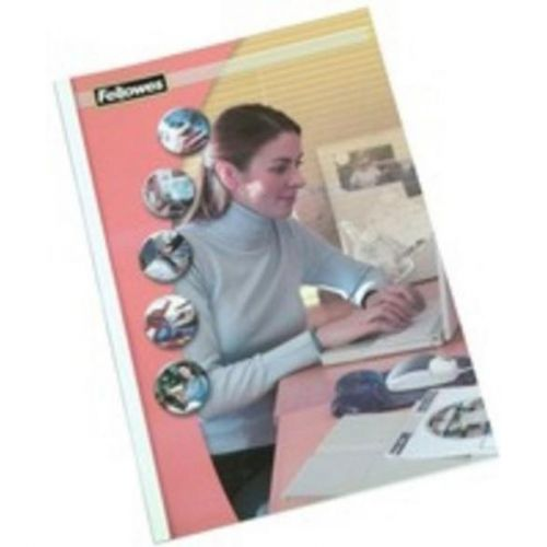 Fellowes Thermal Binding Covers 3mm Feont PVC Clear Back Gloss White A4 Ref 53152-2 [Pack 100]