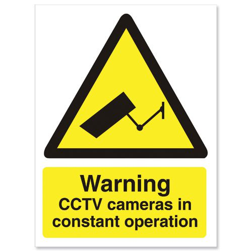 Stewart Superior Caution CCTV Camera Sign Self Adhesive Vinyl 150x200mm Ref WO143SAV