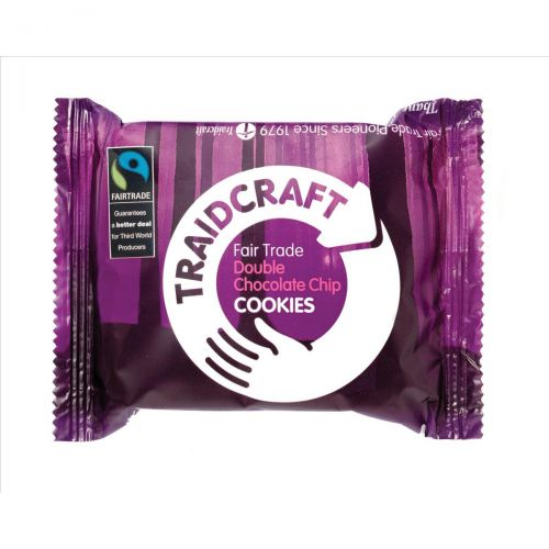 Traidcraft Cookies Double Choc Fairtrade 2 per Minipack Ref A07822 [Pack 16]