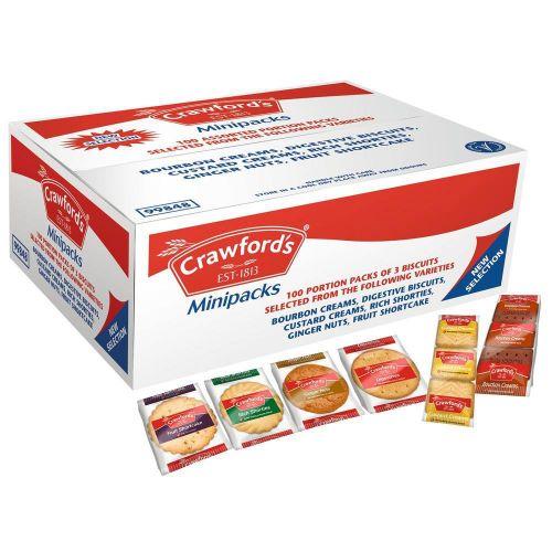 Crawford's Mini Packs Assorted Biscuits 6 Varieties Ref 0401005 [Pack 100]