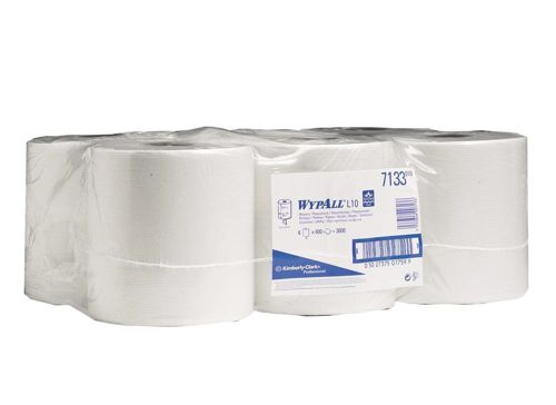 Wypall L10 Wipers Centrefeed Roll One-Ply White Ref 7266 [Pack 6]