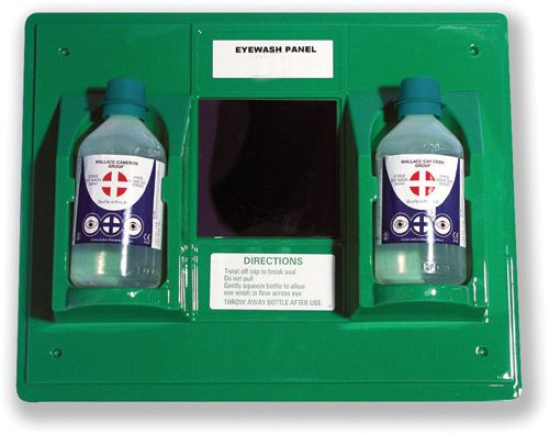 Wallace Cameron First-Aid Emergency Eyewash Station 2 x 500ml Bottles W206xD49xH205mm Ref 2402028