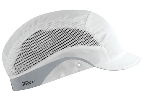 JSP HardCap AeroLite Bump Cap HDPE Shell Water Repellent Short Peak White Ref AAG000-000-1G1