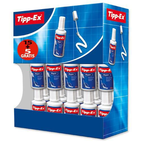 Tipp-Ex Rapid Correction Fluid Fast-drying 20ml White Ref 895950 [Pack 15 & 5]