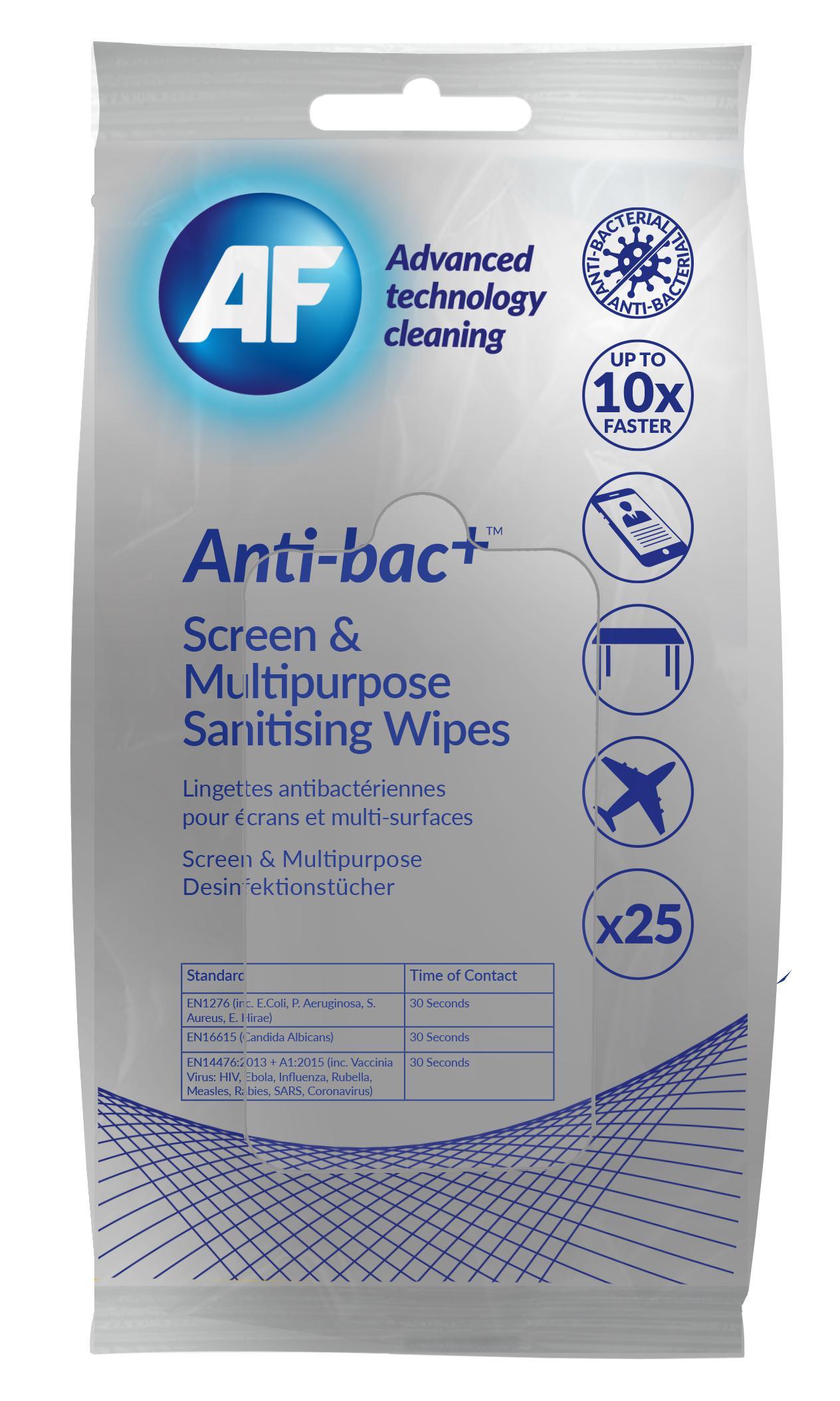 Screen AF Antibacterial Sanitising Screen Multipurpose Wipes PK25