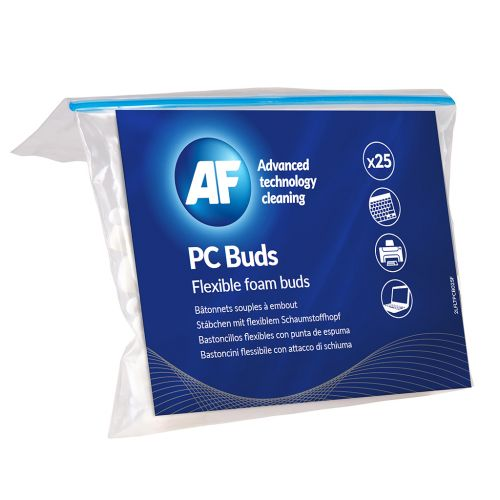 AF PC Cleaning Buds Wide Flexible Foam Head For Cleaning Keyboards Pack 25