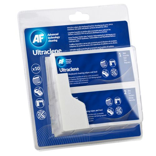 AF Ultraclene PC Case & Keyboard Wet/Dry Wipes 10 Pairs