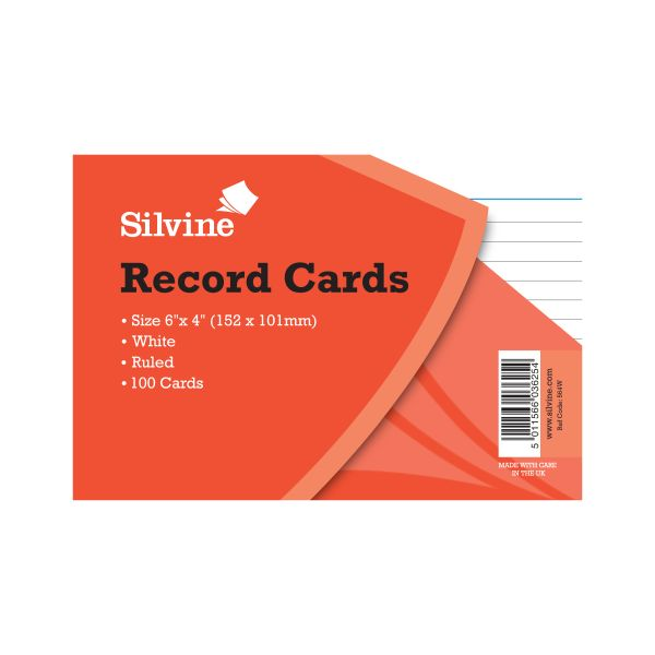 Record Cards 6x4 white, 100s