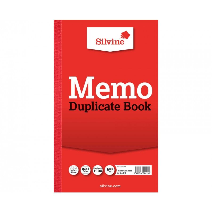 Image for Silvine Dupl Book Memo Ruled Pk6 601