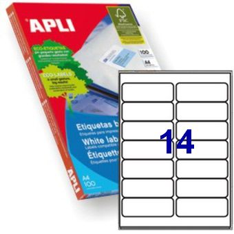 Apli 2419 Laser/Inkjet Labels 99.1x38.1mm  14up