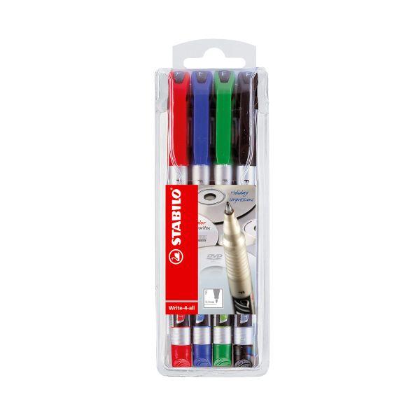 Stabilo Write 4 All 0.7mm Fine Highlighter Assorted PK4