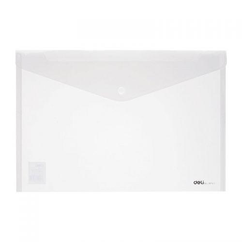 Deli Button Wallet Foolscap Clear Pack 10