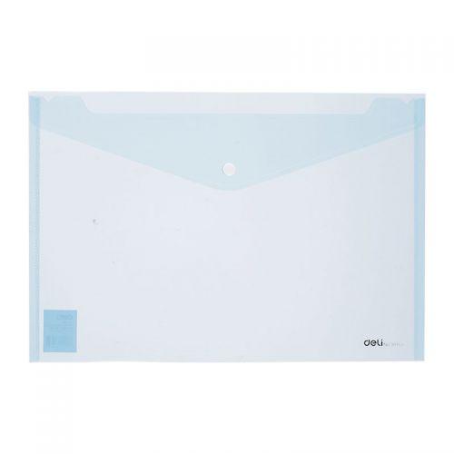 Deli Button Wallet Foolscap Blue Pack 10
