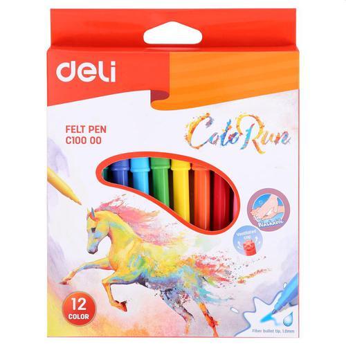 Felt Pen Washable 1.0mm 12 Colours