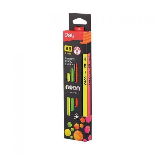 Neon Graphite Pencil With Eraser Pk12