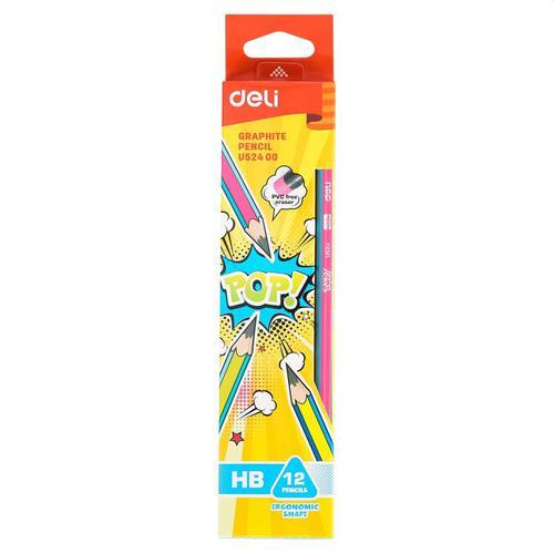 Pop Graphite Pencil With Eraser Pk 12