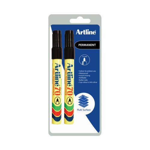 Artline 70 Perm Marker Black Twin Pk Bx12