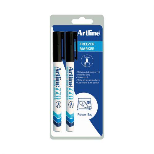 Artline Freezer Marker Black Twin Pack Bx12