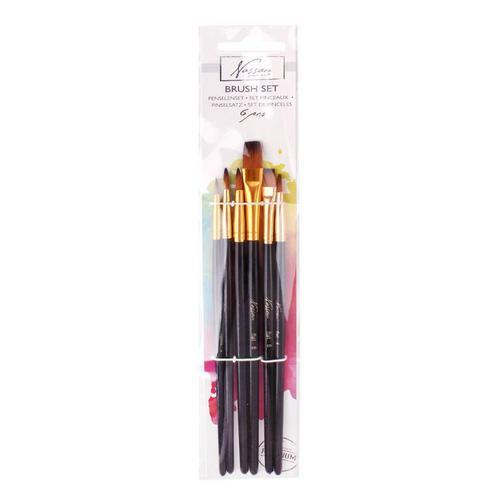 Fine Art Brush Set Black Handle 6 Pcs