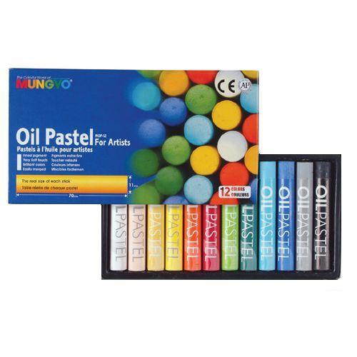 Mungyo, Round Oil Pastels, 12 Asstd Cols