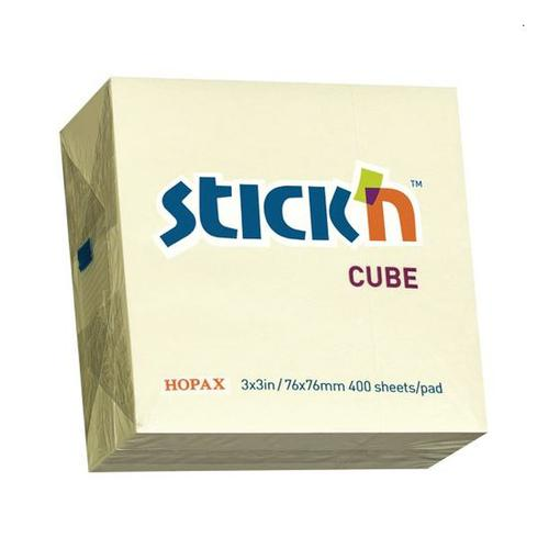 Stickn Note Cube 76x76 Yel 400 sht Bx12