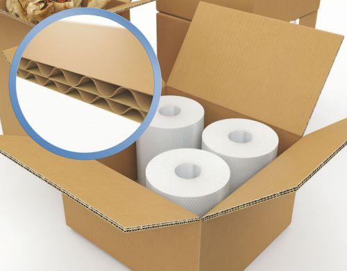 Corrugated Box Double Wall 0201 125T/XB/T 305 x 229 x 77mm (12 x 9 x 3) Pack 15