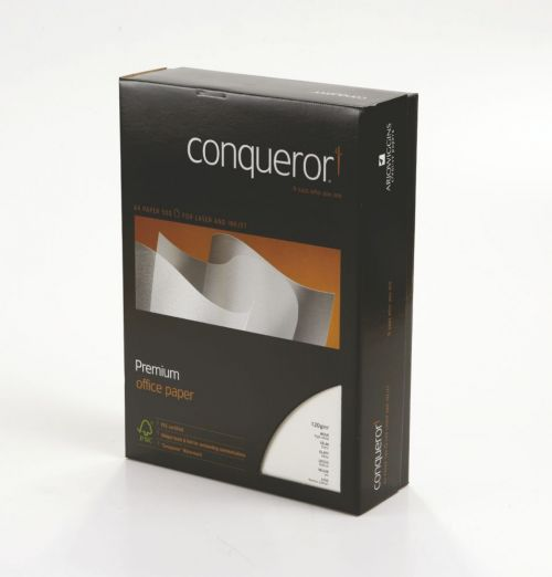 Conqueror Paper High White Wove Watermarked FSC4 A4 210x297mm 120Gm2 Watermarked Pack500