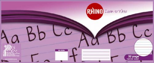 Rhino Learn to Write Book 6mm Ruled on 20mm Red Ruled 160x200mm 32 Page Pack of 20 RExB2 3P