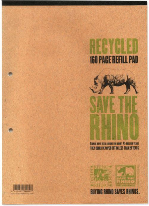 Rhino Recycled Refill Pad 8mm Ruled Margin Sidebound A4 160 Leaves Pack of 3 RHDFMR 3P