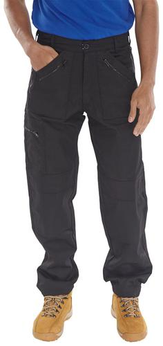 Poly-Cotton Workwear Action Work Trousers Black 32   Awtbl32