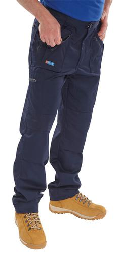 Poly-Cotton Workwear Action Work Trousers Navy 34  Awtn34