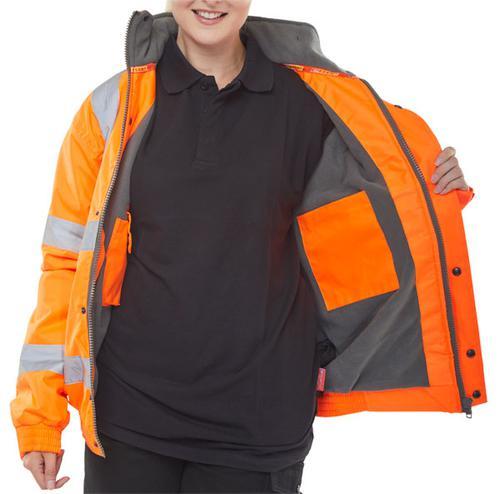 Bomber Jacket Fleece Lined Hv Orange Xl Cbjflorxl