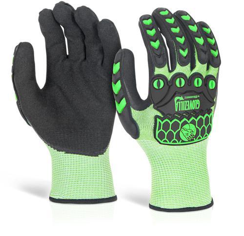 Glovezilla Nitrile Palm Coated Hi-Vis Glove L Gree n Lge Gz02Lgl